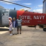 Karen and Brendan with Royal Navy Rescue Helicopter