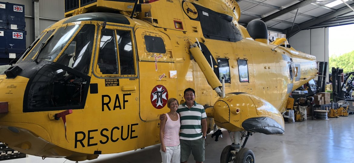 Karen and Brendan with RAF Rescue Helicopter
